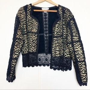 Vintage Gold & Black Leopard Crochet Leather